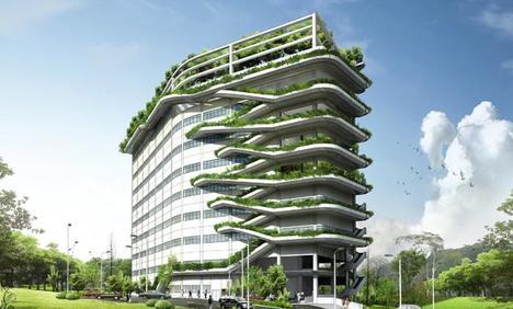 arquitectura sostenible en edificio de oficinas